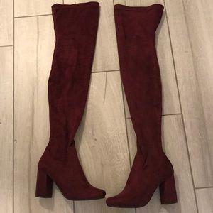 Cranberry thigh high boot